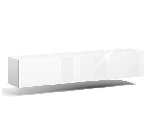 RODRIGO TV Lowboard Hängeboard Hochglanz Board Schrank Wohnwand weiß 160cm (korpus matt weiß+Front weiß Hochglanz)