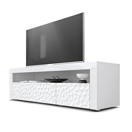 TV Board Lowboard Valencia, Korpus in Weiß/Fronten in Weiß Hochglanz Calypso 3D Struktur und Blenden in Weiß Hochglanz