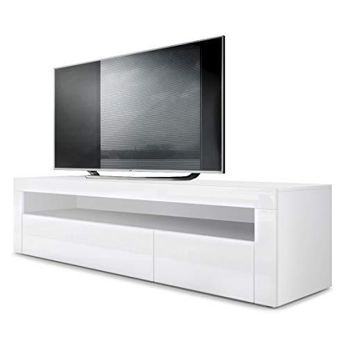 Vladon TV Board Lowboard Valencia, Korpus in Weiß matt/Front in Weiß Hochglanz mit Rahmen in Weiß Hochglanz