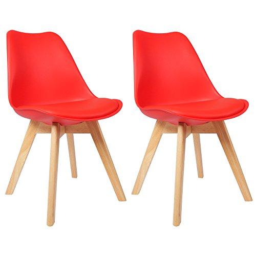 WOLTU BH29rt-2 2 x Esszimmerstühle 2er Set Esszimmerstuhl Design Stuhl Küchenstuhl Holz, Rot