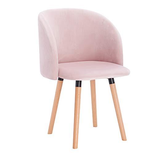 WOLTU Esszimmerstühle BH121rs-1 1x Küchenstuhl Wohnzimmerstuhl Polsterstuhl Design Stuhl mit Armlehne, Sitzfläche aus Leinen, Gestell aus Massivholz, Rosa