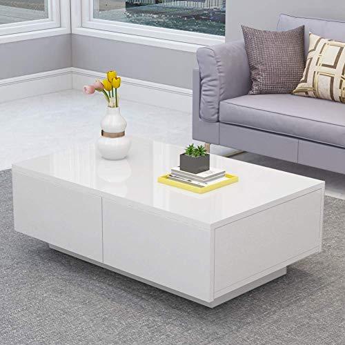 Couchtisch, Wohnzimmertisch Hochglanz mit 4 Schubladen, Hergestellt aus MDF, Sofatisch Kaffeetisch Tisch Holz für Wohnzimmer Büro Wohnzimmermöbel 95 x 60 x 31 cm Weiß