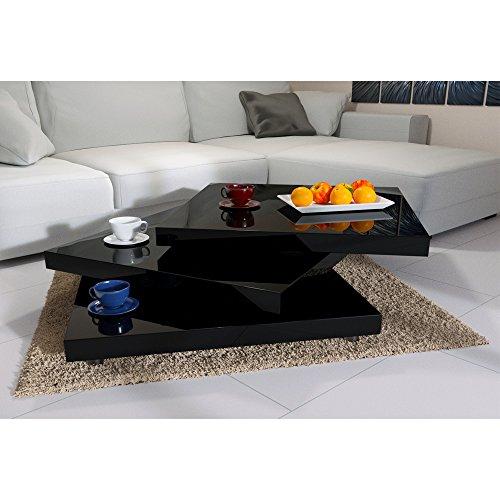Deuba Couchtisch Wohnzimmertisch Hochglanz Beistelltisch Tisch Sofatisch Tischplatte 360° drehbar 60 x 60 cm - Schwarz