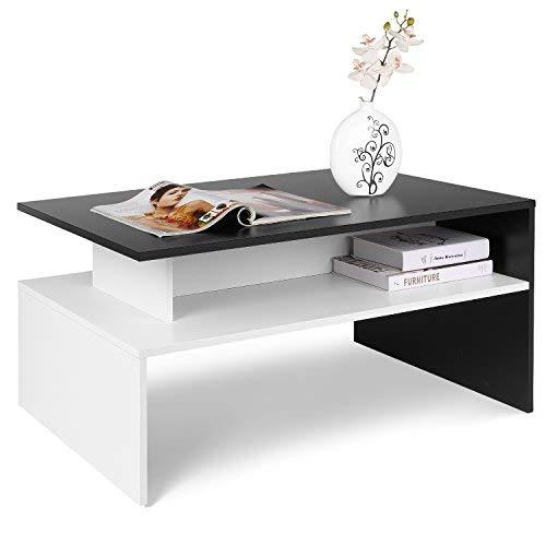 Homfa Couchtisch Wohnzimmertisch Beistelltisch Holztisch Kaffeetisch Holz 90x50x43cm (Schwarz+Weiß)
