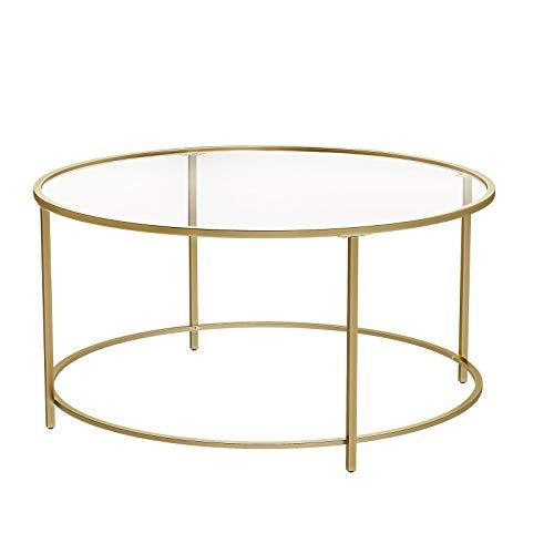 VASAGLE Couchtisch rund, Glastisch mit goldenem Eisen-Gestell, Wohnzimmertisch, Sofatisch, robustes Hartglas, stabil, dekorativ, Gold LGT21G