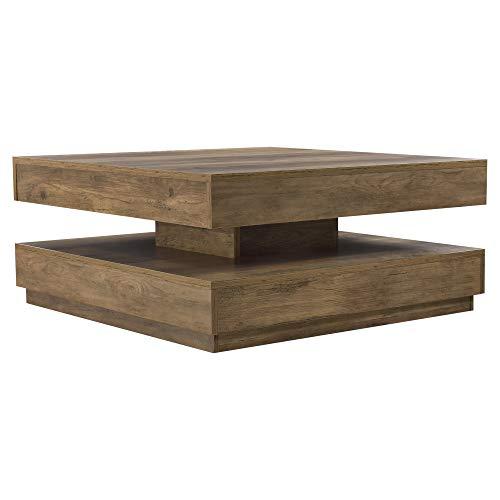 [en.casa] Couchtisch Beistelltisch Wohnzimmertisch Sofatisch Tischplatte Drehbar Holzoptik